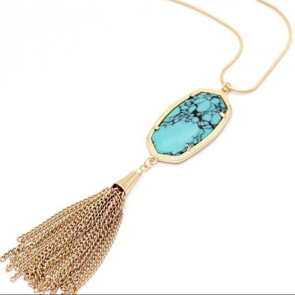 """Elegance Boutique Jewelry - Long Tassel """"Turquoise Tiff"""" Necklace"""